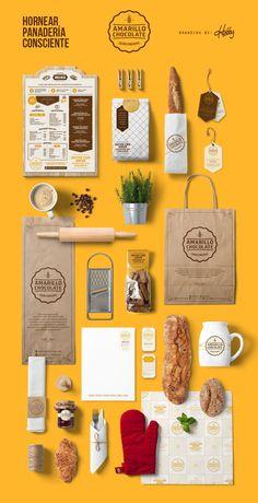 Amarillo Chocolate • Panadería (Bakery) / Desarrollo: #logo #papeleria #empaques #menu #etiquetas