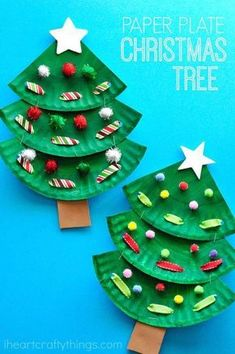 Fun paper plate Christmas tree crafts for kids, preschool Christmas crafts . - Fun paper plate Christmas tree crafts for kids, preschool Christmas crafts, Chris …, - Kids Crafts, Preschool Christmas Crafts, Christmas Art Projects, Toddler Crafts, Preschool Projects, Preschool Art, Christmas Crafts For Children, Quick Crafts, Kindergarten Crafts