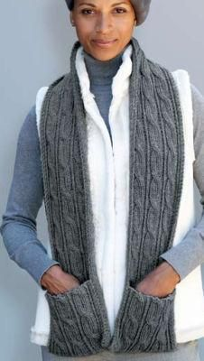 Patons® Classic Wool Cabled Scarf with Pockets