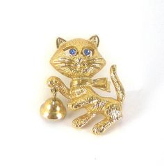 Vintage Avon Cat  Brooch With A Bell  Kitty Brooch by paleorama, $14.00