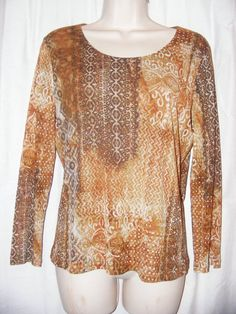 Chico's Brown Tan Patterned 100% Nylon 3/4 Sleeve Top 1 M #Chicos #Blouse #Casual
