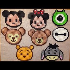 Little Disney bead designs Hama Beads Design, Diy Perler Beads, Hama Beads Patterns, Perler Bead Art, Beading Patterns, Beaded Cross Stitch, Cross Stitch Embroidery, Mickey E Minie, Modele Pixel Art