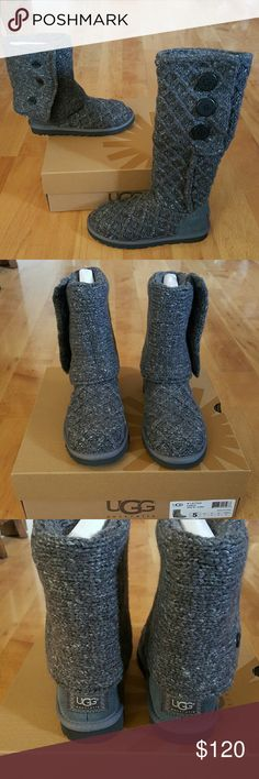 UGG Boots I am selling a pair of NEW UGG Boots. They are size 5 in women. This style is called Lattice Cardy. They are knitted and Charcoal color. Feel free to ask any questions! (#21)***NO TRADES *** UGG  Shoes