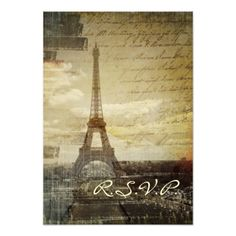 Paris Wedding Invitation vintage Paris Eiffel Tower Wedding RSVP response Card