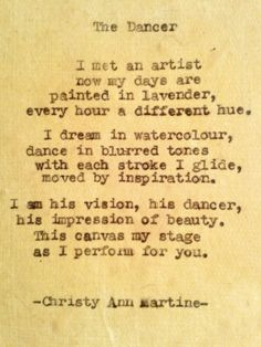 The Dancer Poem poetry poems artist painting - typewriter poem by Christy Ann Martine on Etsy.