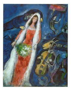 La Mariée is a painting in oil on canvas, 68×53cm, created ​​in 1950 by Marc Chagall (Russian-French, 1887 - 1985). It is presently held in a private collection in Japan.