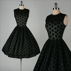 Vintage 1950s dress . black chiffon . illusion polka dot . 3371