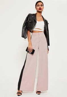 Pink Premium Satin Side Stripe Wide Leg Trousers - Missguided