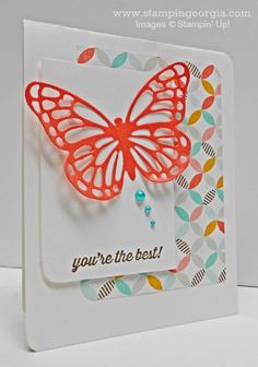 Butterflies Thinlits Dies . . . A Must Have!  Love using the FREE stamp set Simply Wonderful and Best Year Ever Designer Paper on this card, too!  Details on my blog! www.stampingeorgia.com