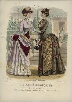 1880s 1880s Fashion, Victorian Fashion, Vintage Fashion, Victorian Dresses, Lavender Gown, Summer Day Dresses, Bustle Dress, 19th Century Fashion, Fashion Prints