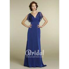 Elegant V-neck Royal Blue Chiffon A-line Long Evening Dress. #Purple, #Vneckline, #Sleeveless, #Empire, #Evening, #Dress. Only $192.00