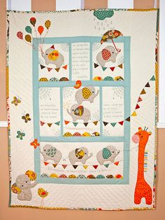 Elephant Quilts Pattern, Quilt Patterns, Patchwork Baby, Baby Sewing Projects, Quilted Wall Hangings, Quilt Making, Baby Quilts, Applique, Crafts