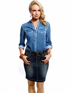 Jupe aus Stretchdenim indigoblau Indigo, Denim Skirt, Skirts, Women, Fashion, Blue, Moda, Indigo Dye, Skirt