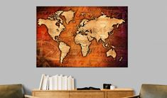 Decorative pinboard - Amber World. Beautiful cork maps by GLIX Wall Stickers, Wall Decals, Cork Map, Amber, Cork Bulletin Boards, Map Art, The Ordinary, Screen Printing, Vintage World Maps