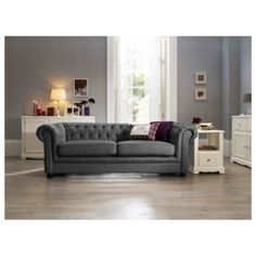 brand new chesterfield 3 + 2 seater sofa & armchair in a soft smooth grey fabric Fabric Sofa, Grey Fabric, Buy Sofa Online, Grey Room, Living Spaces, Living Room, Chesterfield Sofa, 2 Seater Sofa, Sofa Set