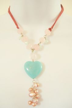 50% OFF TODAY ONLY Amazonite Heart with Rose Quartz and Pink Freshwater Pearls  £295.00