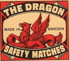 ORIGINAL VINTAGE MATCHBOX LABEL - MADE IN SWEDEN - THE DRAGON ...