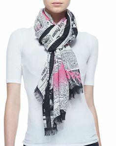 newspaper print scarf, black/cream by kate spade new york at Neiman Marcus.