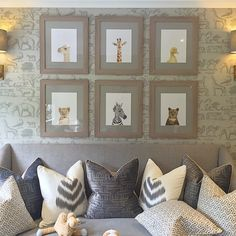 This Neutral Nursery is anything but boring with its Sweet Animal Wallpaper and Pictures.