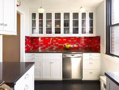 Marcia Butler Interior Design Inc. | Red Kitchen |  Peter Murdock Photography
