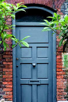 Front Door Paint Colors: Farrow & Ball Hague Blue Exterior Eggshell No. Exterior Door Colors, Front Door Paint Colors, Painted Front Doors, Exterior Doors, Entry Doors, Entrance, Paint Colours, Exterior Design, Entryway