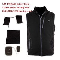 2016 New Winter Outdoor Sports 7.4V Electric Heating Vests Battery Heated Fleece Vest Men/Women with 3 Carbon Fiber Heating Pads