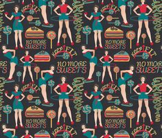dieters' resolutions fabric by kociara on Spoonflower - custom fabric