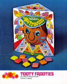 A Tooty Frooties Easter Egg from 1976 has a chocolate shell and is filled with… Vintage Advertisements, Vintage Ads, Vintage Photos, Vintage Food, Vintage Sweets, Retro Sweets, 1970s Childhood, Childhood Memories, School Memories