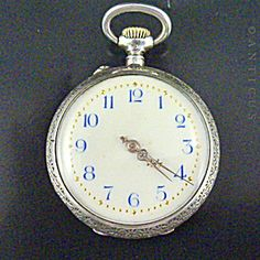 Small Silver Pendant Watch, Swiss/german, Antique. Pendant Watch, Vintage Pocket Watch, Gold Dots, Gold Hands, White Enamel, German, Watches, Antiques, Silver