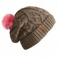 Beanie No.2 - Mützenfarbe Sand - Bommelfarbe Fakefur Pink #bommel #pompom #beanie