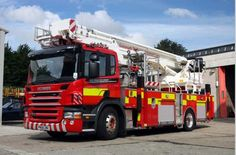 Fire engine with platform at the home base Bangor, North Wales.