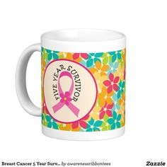 Breast Cancer 5 Year Survivor Pink Ribbon Gift Coffee Mug