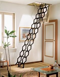 6 Timely Tips AND Tricks: Attic House Style attic ideas finished.Attic Remodel Home Decor attic staircase railing. Folding Attic Stairs, Attic Doors, Attic Staircase, Attic Ladder, Attic Loft, Staircase Design, Loft Stairs, Loft Ladders, Attic Library