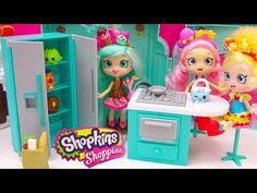 Shoppies Peppa Mint Fridge, Oven, Kitchen with Shopkins Season 4 Blind Bag Unboxing - Cookieswirlc - YouTube