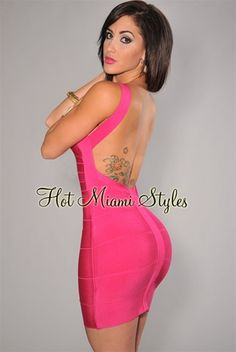 eb4c17cafb Fuchsia Plunging Back Silky Bandage Dress. Vegas DressesClub DressesPink Bodycon  DressesSexy ...