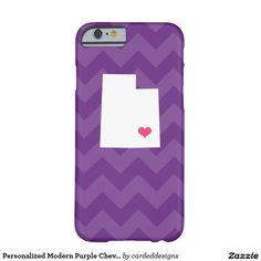 Personalized Modern Purple Chevron Utah Heart Barely There iPhone 6 Case