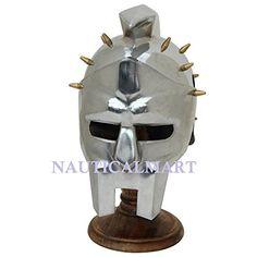 NauticalMart Miniature Spaniard Gladiator Maximus Helmet Display with Stand Helmet Armor, Warrior Helmet, Knights Helmet, Gladiator Maximus, Gladiator Armor, Medieval Knight Armor, Medieval Dragon, Roman Helmet, Roman Armor