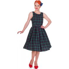 Annie Retro Check Swing Dress in Dark Green
