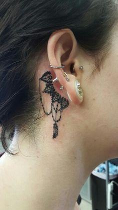 Behind ear tattoo Ear Tattoos, I Tattoo, Tatoos, Cool Tattoos, Brow Shaping, Brows, Tatting, Sculpting, Piercings