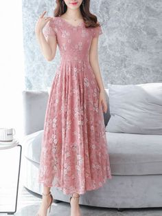 Chiffon floral printed lace maxi dress, with pink or other colors, you will love it, shop now! Source by mcsohni maxi dress Dresses For Teens, Modest Dresses, Simple Dresses, Beautiful Dresses, Casual Dresses, Fashion Dresses, Short Sleeve Dresses, Summer Dresses, Maxi Dresses