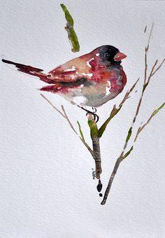 "watercolorsforlandlubbers: "" ORIGINAL Watercolor Painting, Red Cardinal 6x8 Inch """