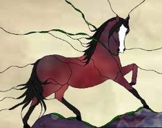 stained glass patterns of horses | Stained Glass Horse Pattern Book