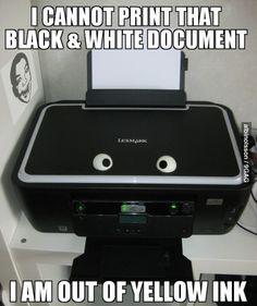 Printer logic. The printer made the people on my scholarship application PURPLE. PURPLE!
