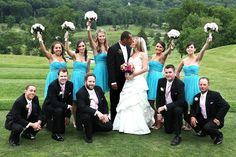 Bride and Groom with Bridal party on a golf course | Fun playful posing ideas | Modern New York Wedding Photography by Anna Rozenblat | www.AnnasWeddings...
