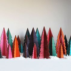Christmas Trees In Tropical Colours Bright by LindsayInteriors