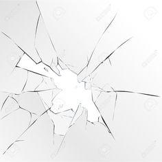 Broken glass hole on white background. Vector illustration