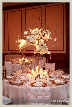 Elegant floral and crystal tree centerpiece