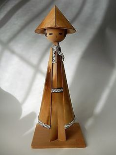 "Rare Vintage Japanese Bamboo SNUFKIN SOSAKU KOKESHI Doll Artist Sign H37cm 14.5"""
