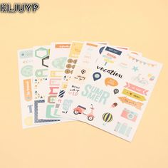 KLJUYP 6sheets Summer Travel Self- adhesive Paper Sticker for Scrapbooking Happy Planner/Card Making/Journaling Project