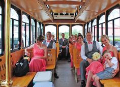"""OBX Trolley - Let """"Stella"""" – the OBX Wedding Trolley – transport you in style to all of your events! The OBX Wedding Trolley, affectionately called Stella, is the most elegant form of Outer Banks wedding and special event transportation."""
